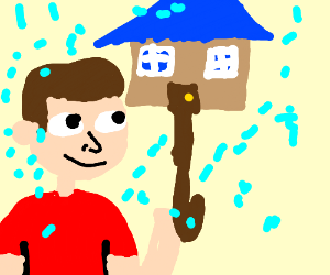 A man under a house Umbrella
