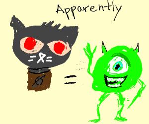 Black cat with red eyes = Mike Wazowski