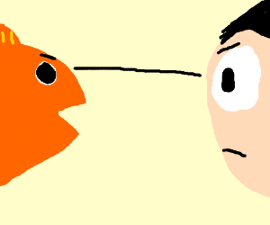man having a staring contest with a fish