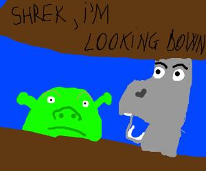 Shrek I M L O O K I N G D O W N Drawception
