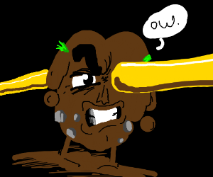 Dirtman impales his face with a golden rod