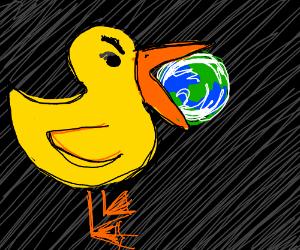 Evil duck eating the world
