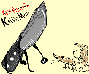 Knifemin defends against the Rats