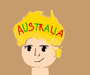 A man wears yellow Australia as a hat