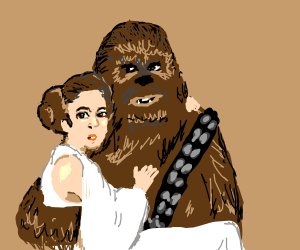 Chewbacca carrying Princess Leia