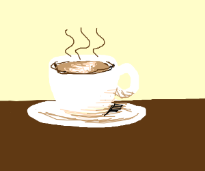 Warm coffee in white cup