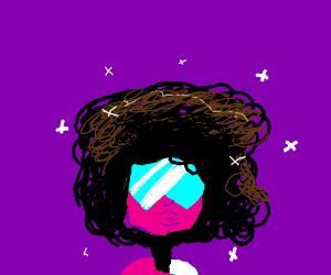 Garnet with big curly magnificent hair