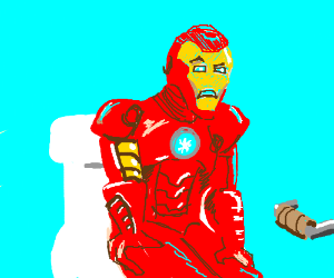 Iron man is having trouble on the toilet