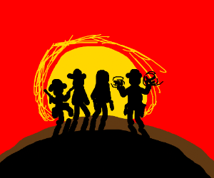 four cowboys walking into the sunset