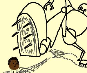 a big robot stepping on a black man