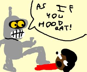 racist robot stomping on black kids
