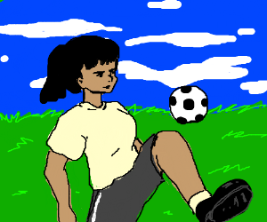 Girl plays soccer
