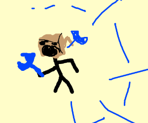 Man with cardboard box hat holds blue wrench.