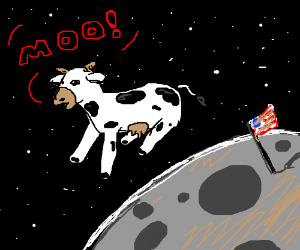 cow flying over moon says Moo (WOW in human)