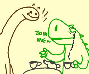 Sir Rex invites Brontosaurus to the tea party