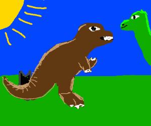 T-rex invites long neck dino to drink tea