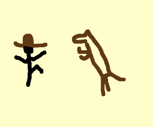 cowboy dancing while a horse watches in awe