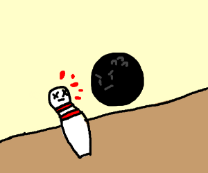 bowling pin ruthlessly murdered by bowling bal