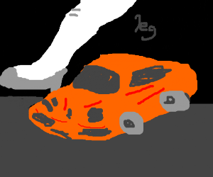 orange sports car and giant white leg behind