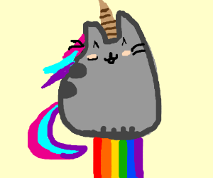 Unicorn Pusheen Cat Pooping A Rainbow