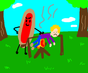 Hot dog cooks human over campfire