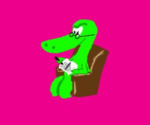 Lizard grandpa doing a crossword