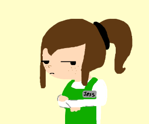 Jess the grocery clerk  is annoyed