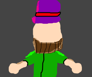 bearded man with purple hat no face