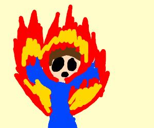 Guy on fire