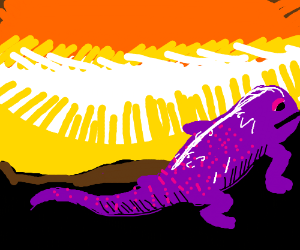 Fat purple lizard over mountain Sunscape