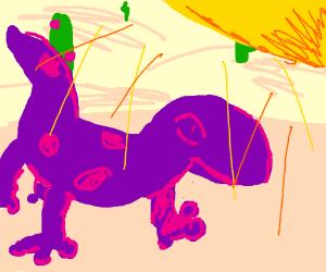 Purple salamander in the desert sun