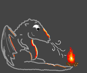Surprised dragon blowing a tiny bit of fire