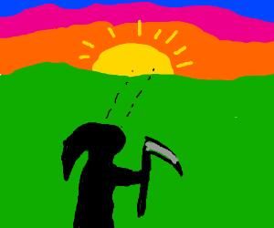 death gazes at sunset