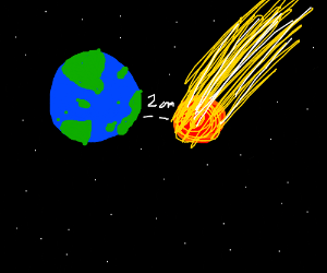 Asteroid narrowly misses earth.