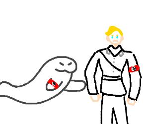 Nazi seal attacking nazi humans
