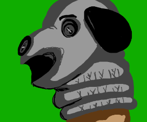 Sock puppet of a gray dog (?)