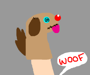 Dog hand/sock puppet