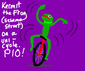 Kermit (sesame street) frog on a unicycle. PIO