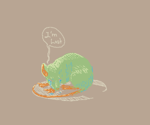 Green rat crying because he lost