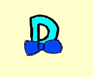 The letter D is blue and wearing a bow tie.
