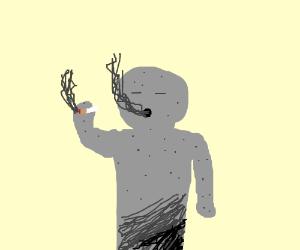Clay man smoking
