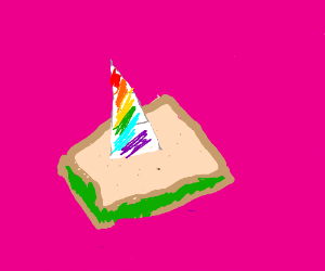 Unicorn with a sandwich on its horn