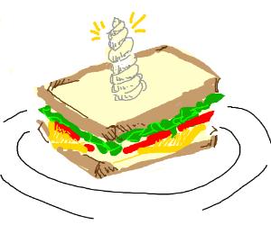 sandwich with unicorn horn on top