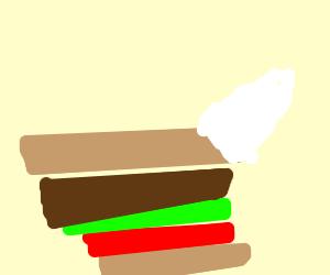 A sandwich with a unicorn horn