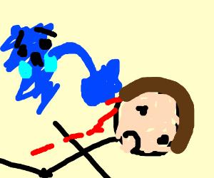 Sadness punching a man