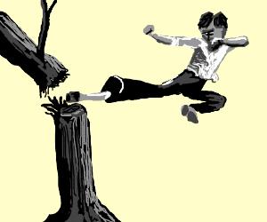 Bruce lee kicking a tree in half