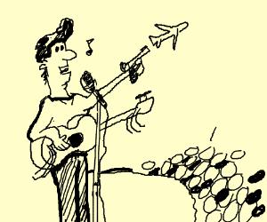 singer with a broken guitar shooting a plane