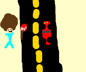 A man stoping at a road