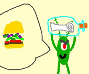 Plankton stole the Krabby Patty recipe