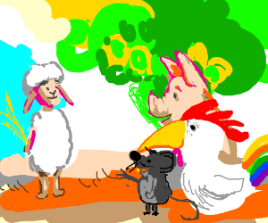 A diverse group of cartoon animals.